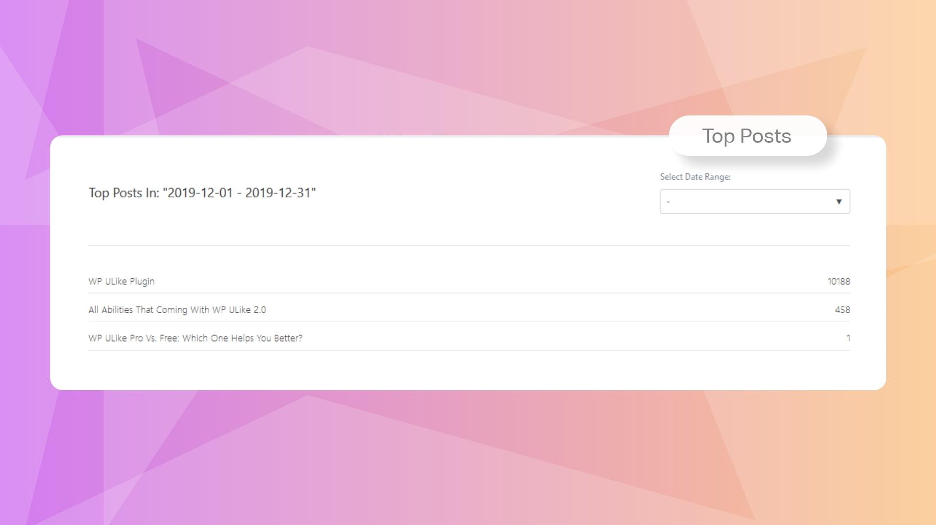 WP ULike Pro Statistics Tools - Top Posts