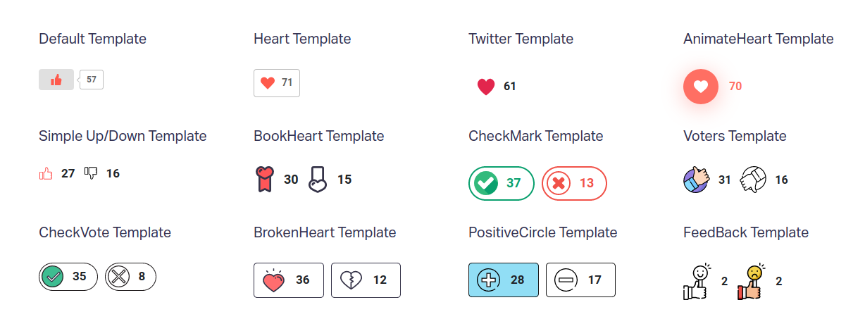 WP ULike Pro voting plugin : beautiful and modern templates