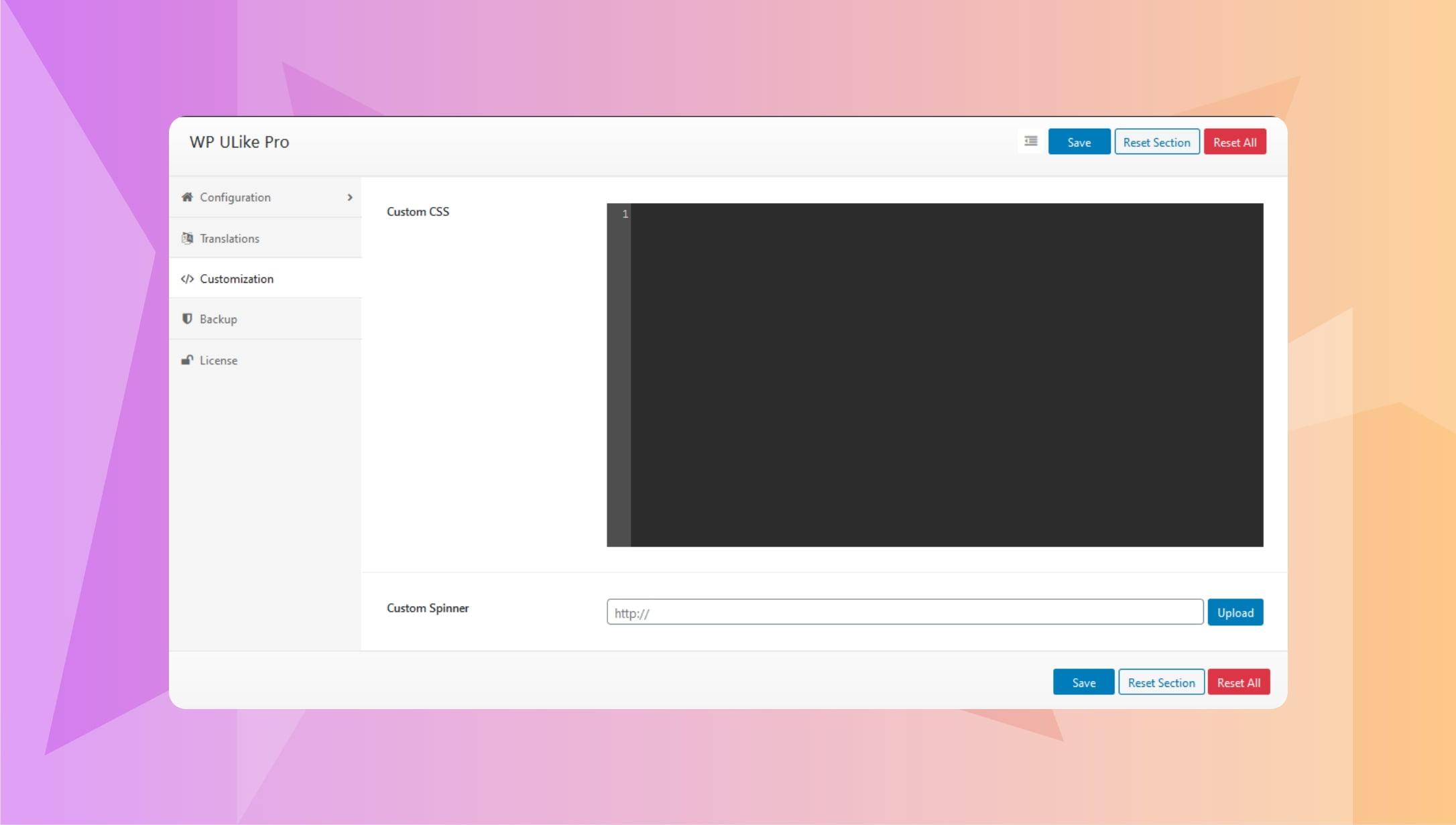 WP ULike Pro Settings : customization