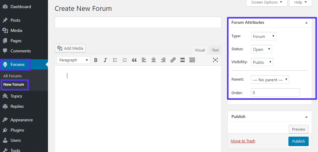 create new forum