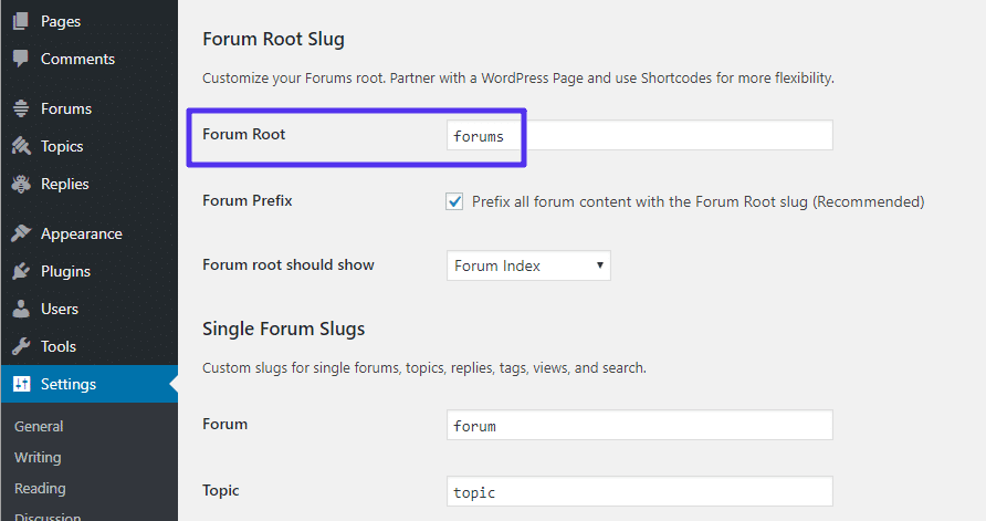 forum root slug