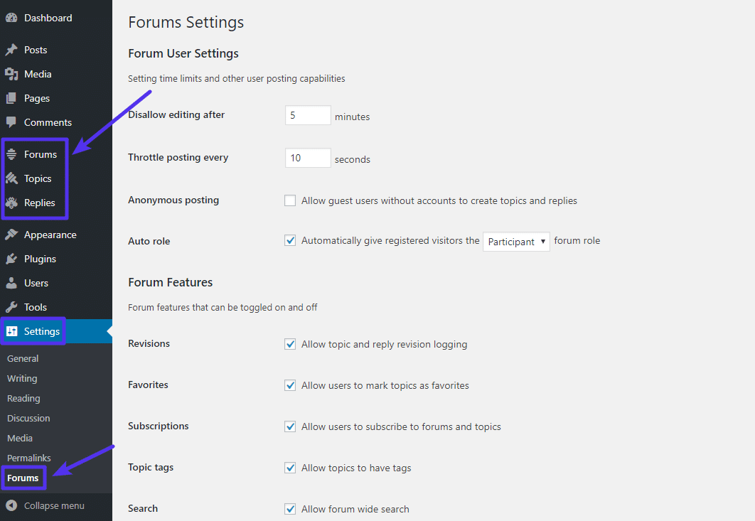 forums setting