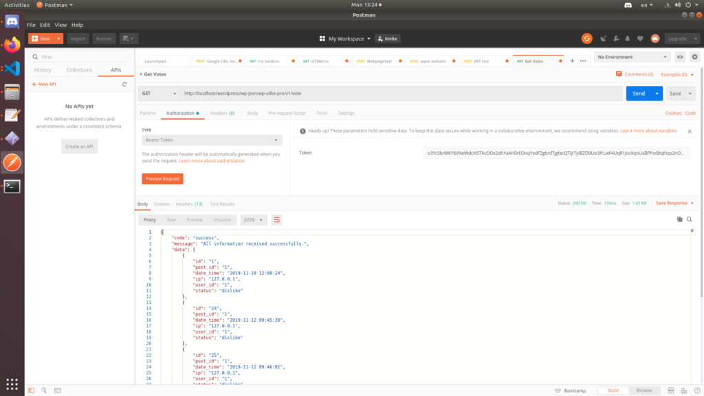 Extract data with Rest API in WP ULike plugin