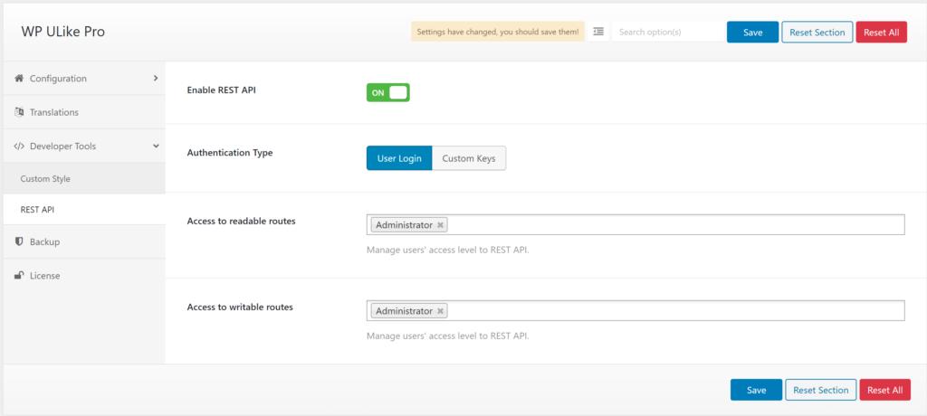 Rest API in WP ULike plugin