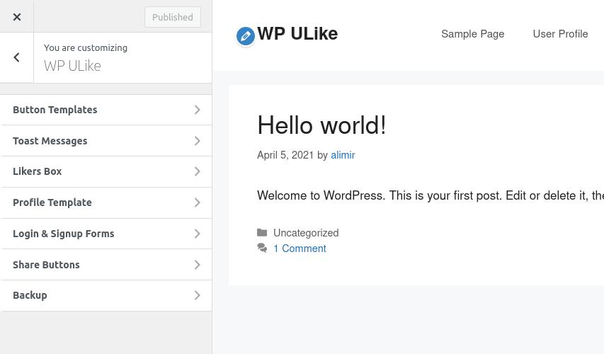 Common WP ULike Customizer Options
